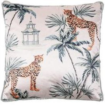 RUBY STAR TRADERS Cheetah Cushion - White Multi