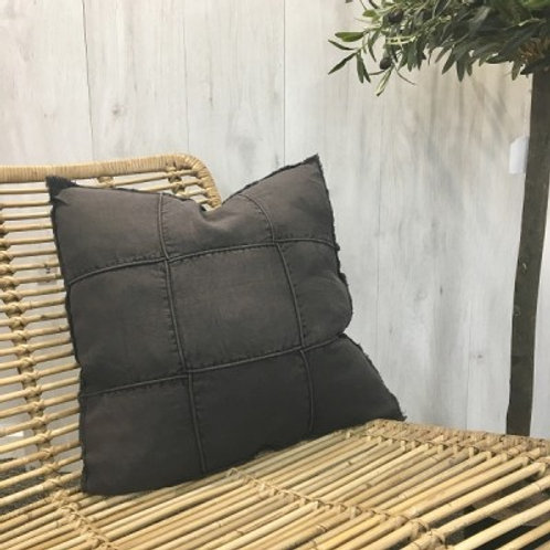 Linen Cushion - Check Black 50 x 50