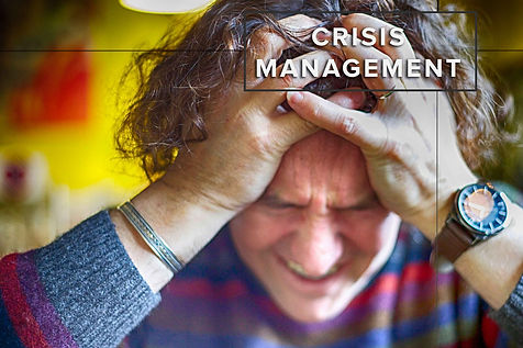 Man struggling to manage a crisis situation