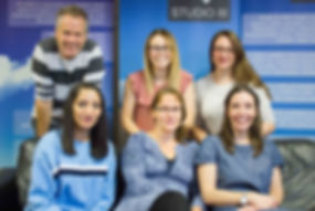 Studio 3 clinical team (top row from left to right - David Walker, unknown, Camille Trueman. Bottom row from left to right - Taz Johal, Catriona Firman, Fional Walker)