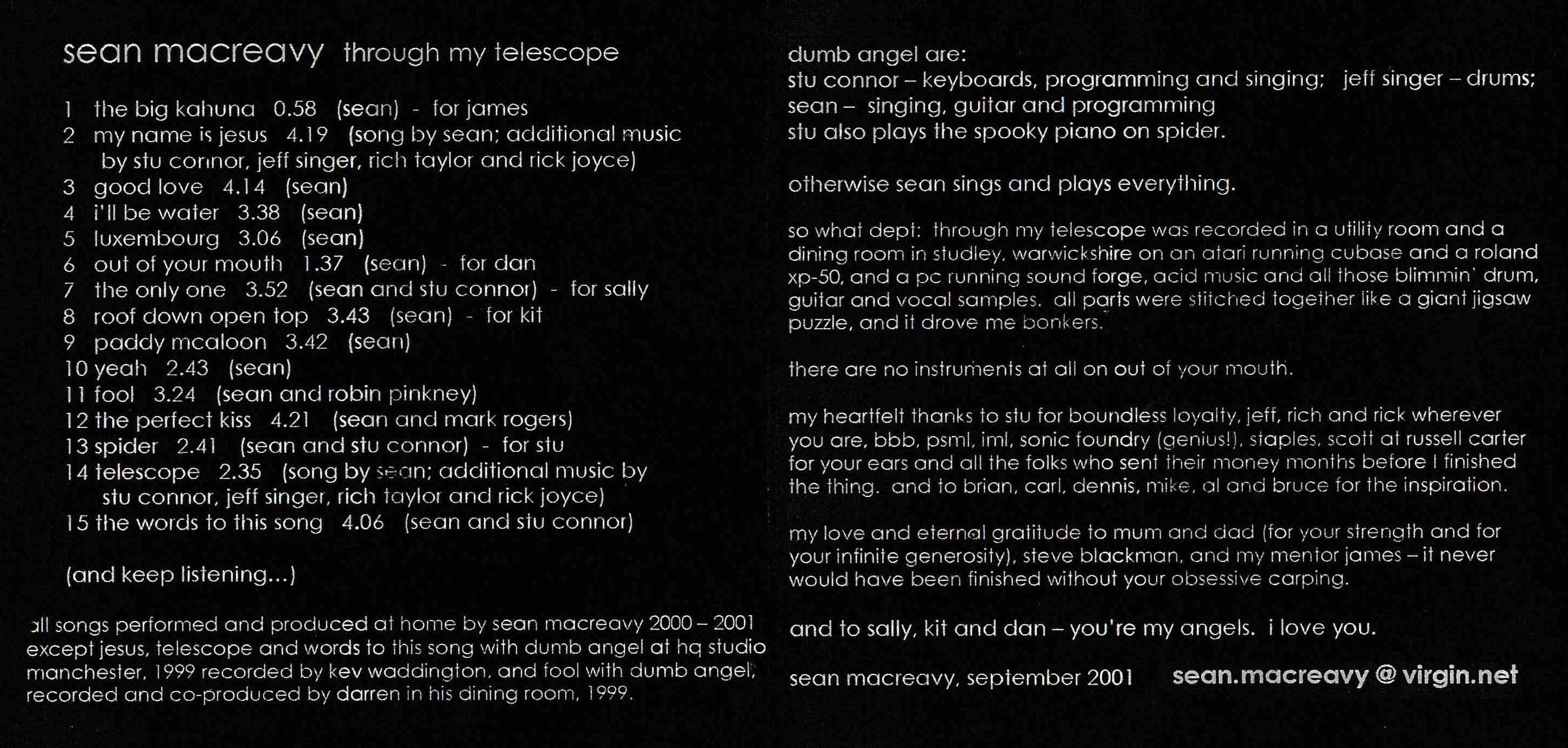 Sean Macreavy Through My Telescope - liner notes