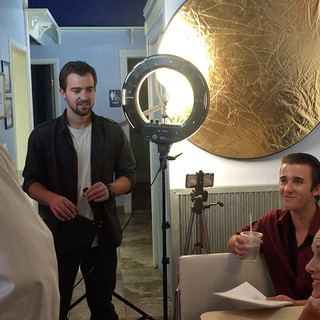 Hunter helps prepare a scene with Takoda Shane and Brittany Charboneau in Take Your Dream