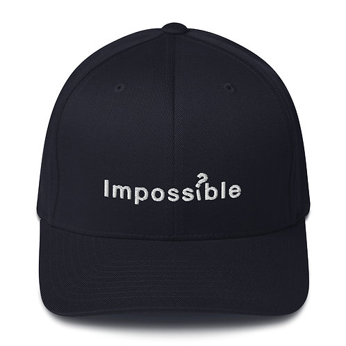 Black Structured Twill Cap with embroidered Impossible