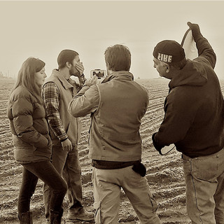 Hawley Penfold and Marc Greenacre work a scene with Director E W Helmick and Hunter James with camera.