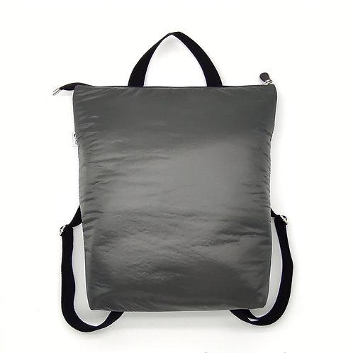 Gray padded backpack.