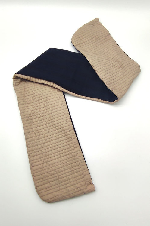 8 sweatband  blue wool and quilted Ivory