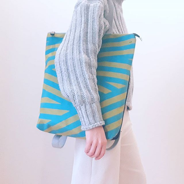 Totebag _ backpack _ green&blue stripes