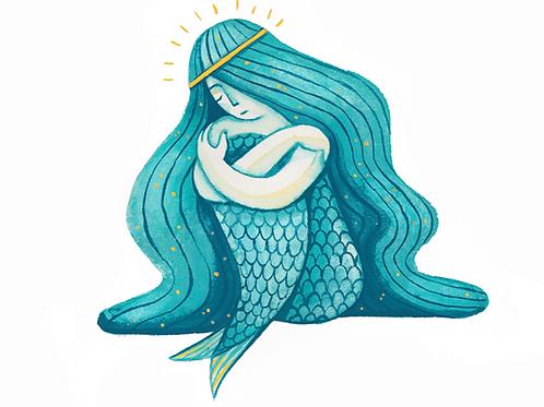 'Depressed Mermaid' Original Framed Artwork