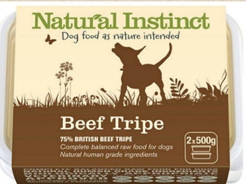 Natural Instinct Beef Tripe 2 x 500g Raw Dog Food