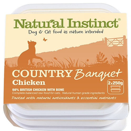Natural Instinct Country Banquet Chicken 2 x 500g Raw Cat Food