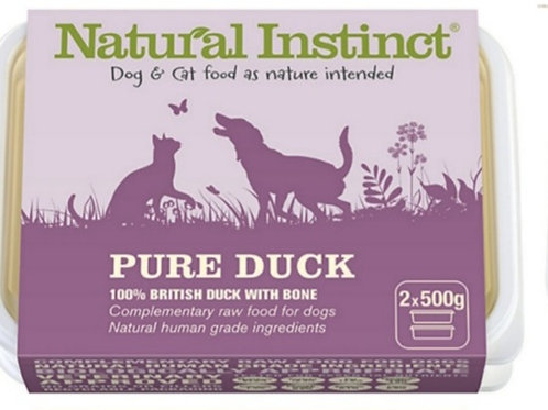 Natural Instinct Pure Range Duck 2 x 500g Raw Dog /Cat Food