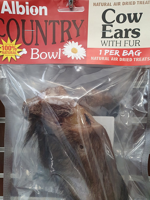 Albion Country Bowl Air Dried Cows Ears with Hair 1 per Bag