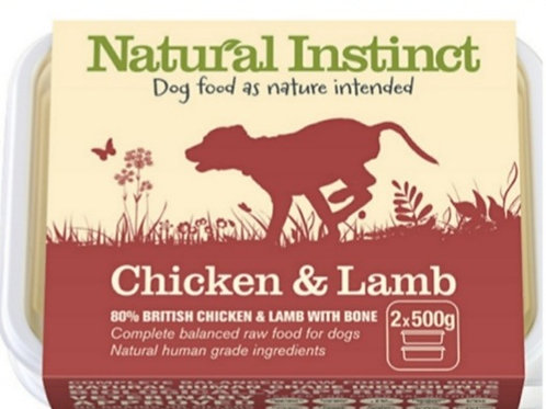 Natural Instinct Chicken & Lamb 2 x 500g Raw Dog Food