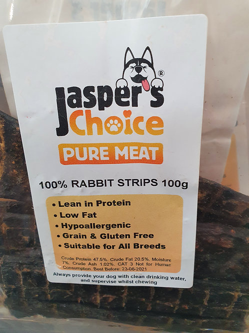 Jaspers Choice Pure Rabbit Meat Strips 100g