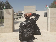 In front of the tomb of Yasser Arafat. I