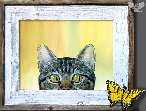 """Peeping Tom"" framed acrylic painting"