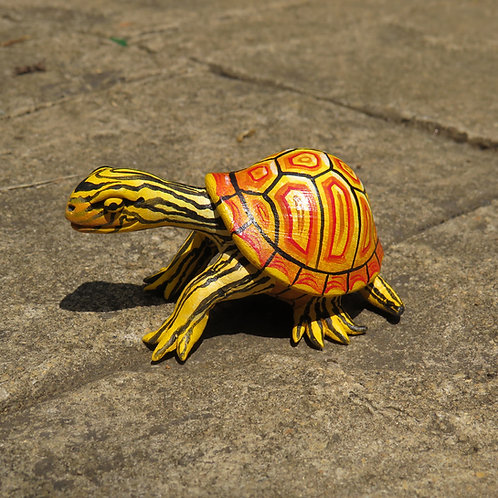 Mini Gourd Turtle #CM1, Fiery Yellow Tortoise