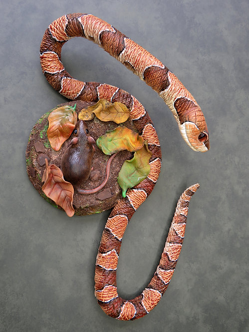 Copperhead and mouse wall-hanging