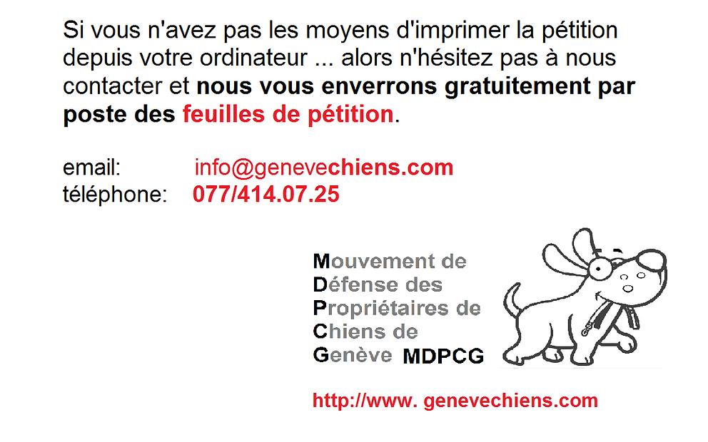 Obtenir feuilles de pétition MDPCG