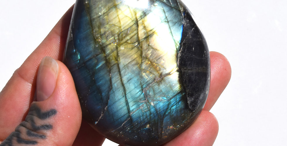 Blue + Gold Labradorite Pebble