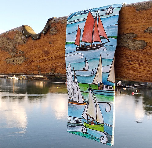 Sail Boats ~ Tea Towel ~ 100% Cotton