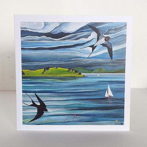 Swallows and boats sailing Strangford Lough Northern Ireland artist greeting card painting Roe island