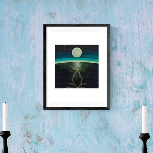 Moon Meditation ~ A4 print ~ recycled paper