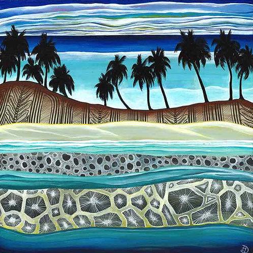 coral reef tongan art tonga pacific island palm tree tapa art cushion