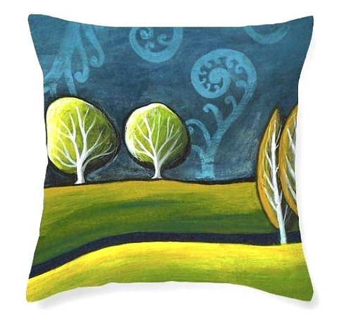 landscape fern new zealand trees and hills art cushion