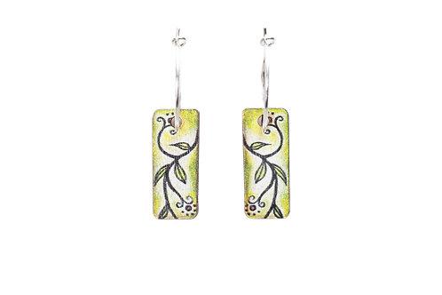 green vine leave wooden earrings on sterling silver hooks nature goddess boho