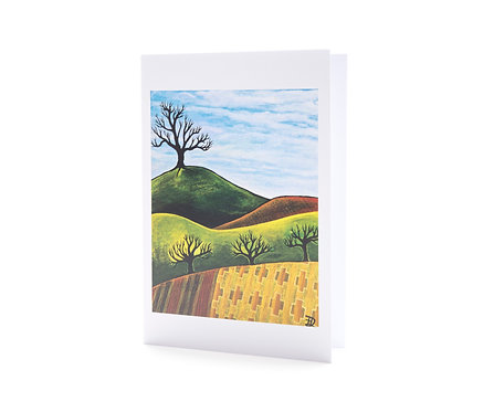 ploughed fields and trees autumn colours landscape art greeting card hannah dorman