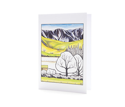stylised landscape new zealand artist mountains trees art greeting cards hannah dorman