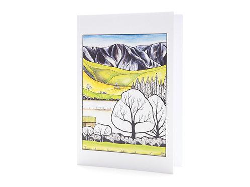 stylised landscape new zealand artist mountains trees art greeting cards hannah dorman