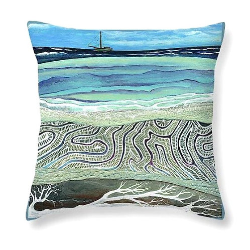 coral reef sail boat tonga pacific tropical sailor cushion