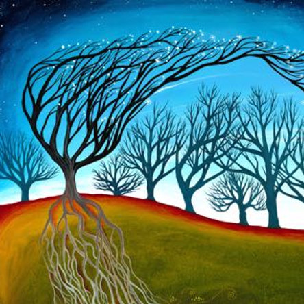 woods leaning tree stars boho interior cushion hannah dorman