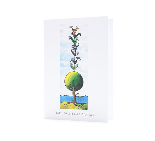 life is a balancing act positive quote challenging times quirky birds art greeting card hannah dorman