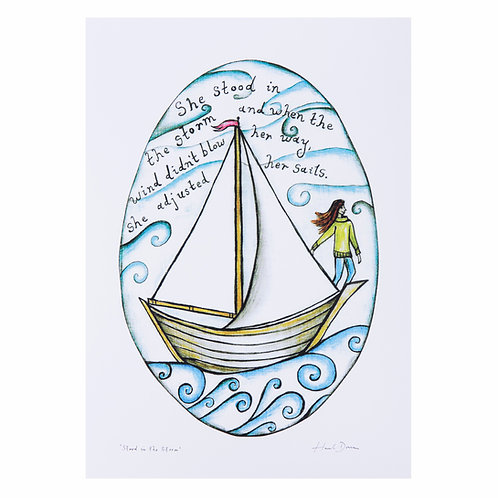 she stood in the storm and when the wind boat sailing change positive quote art print hannah dorman women who sail