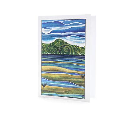 two for tea oyster catchers new zealand golden bay art greeting card estuary hannah dorman