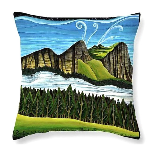 mindfulness meditation boho trees and mountains cushion