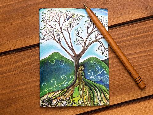 disconnect to reconnect social distance rewilding spiritual boho art greeting card hannah dorman