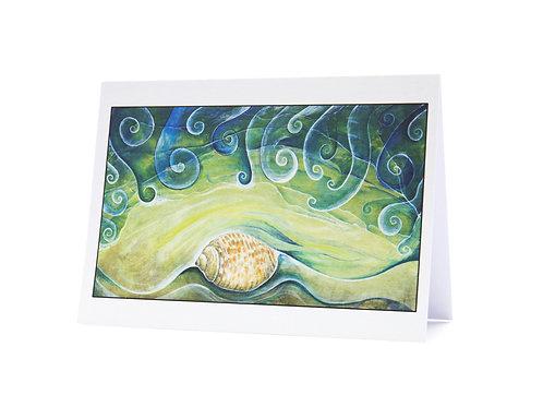shell beach waves shore sea shells beachcomber treasure nature art greeting card hannah dorman