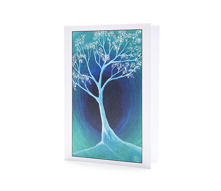 into the light tree blossom faith boho blue turquoise art greeting cards hannah dorman