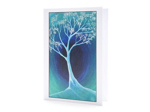 into the light tree blossom faith boho blue turquoise art greeting cards hannah dorman