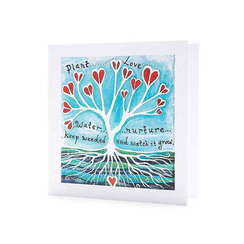 plant love positive inspirational quote grow love hope art card mindful hannah dorman artist ireland