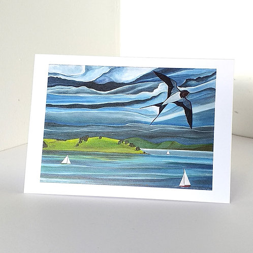 Swallows and sail boats on Strangford Lough Northern Ireland yachts sailor gifts Uk cards online