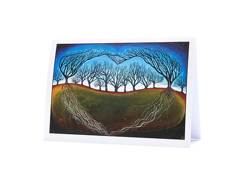 throught the woods woodland love anniverary wedding valentines day love trees heart art greeting card hannah dorman