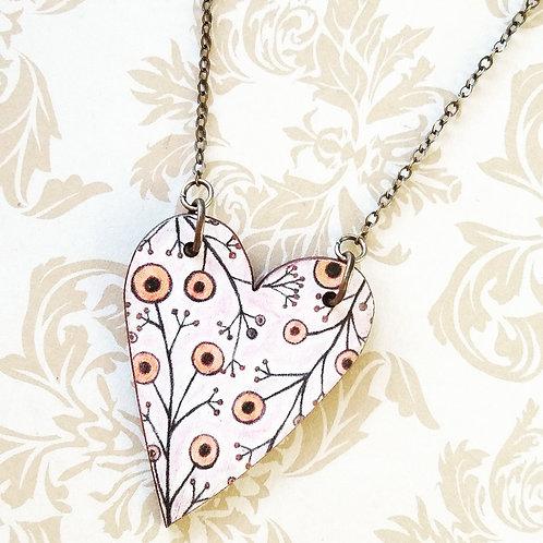 Heart Bloom ~ Wood pendant