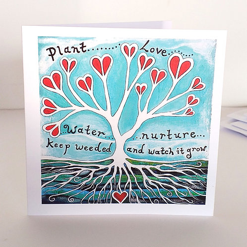 Plant love and watch it grow greeting cards uk hearts valentine romance anniversary wedding card