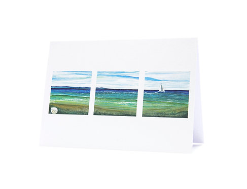 in the wake sailing boat shell beach seascape new zealand tryptic sailor gift art greeting card hannah dorman