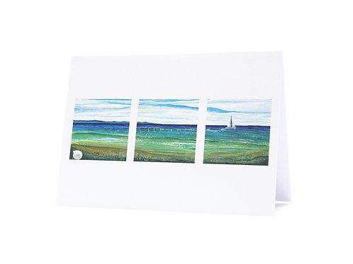 in the wake sailing boat shell beach seascape new zealand tryptic sailor gift art greeting card hannah dorman